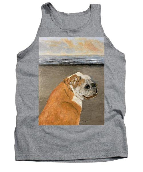 Bulldog  On The Beach Tank Top