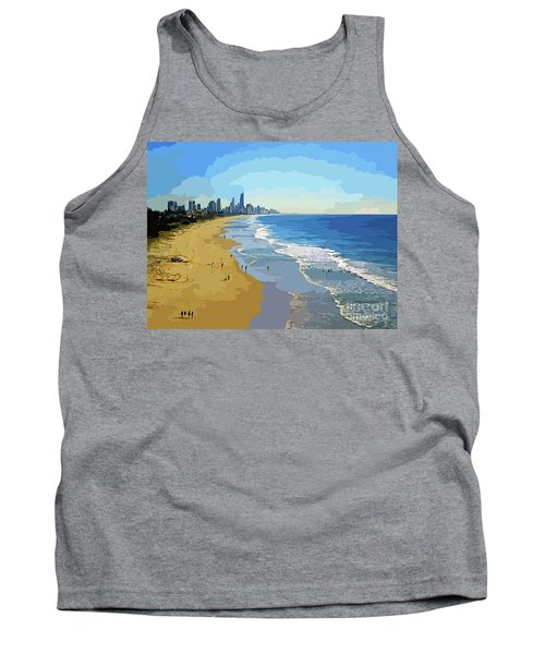 Burleigh Beach Gold Coast Australia 070708 Cartoon Tank Top