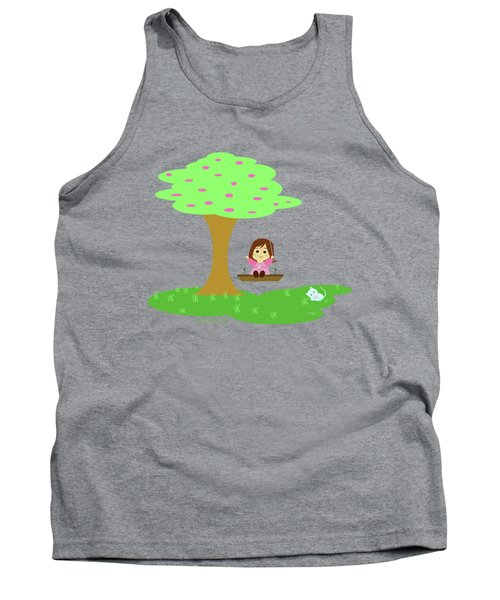 Cathy And The Cat Play In The Swing Tank Top