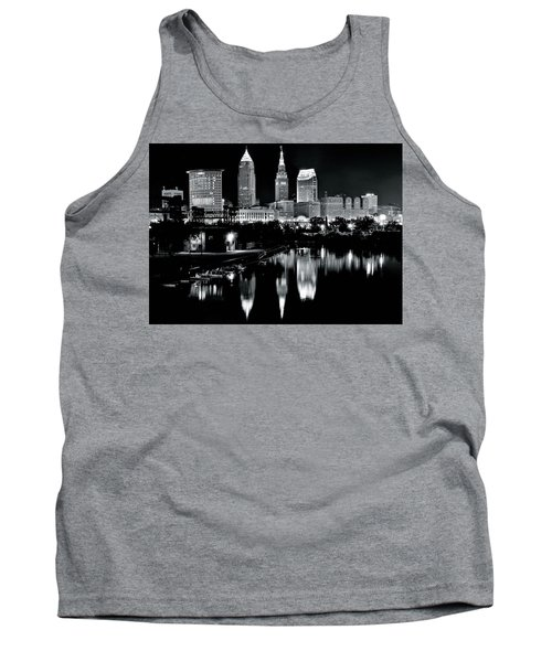 Charcoal Night View Of Cleveland Tank Top