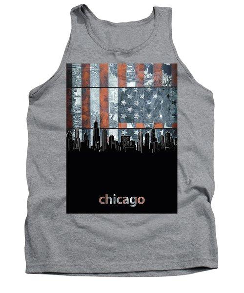 Chicago Skyline Flag 3 Tank Top