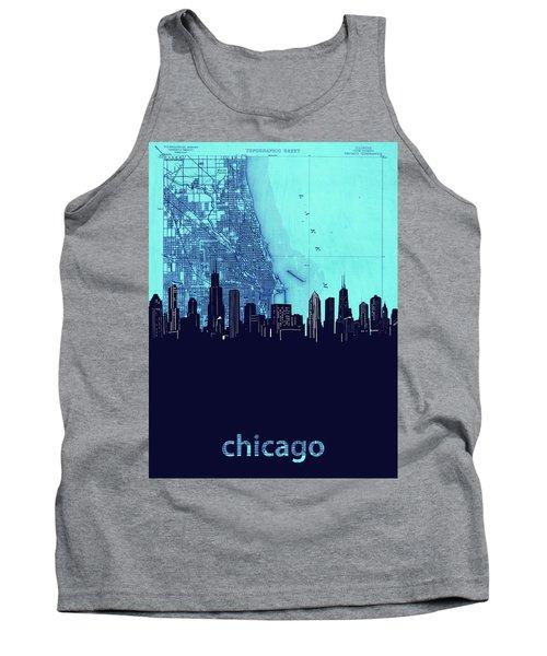 Chicago Skyline Map Blue 2 Tank Top