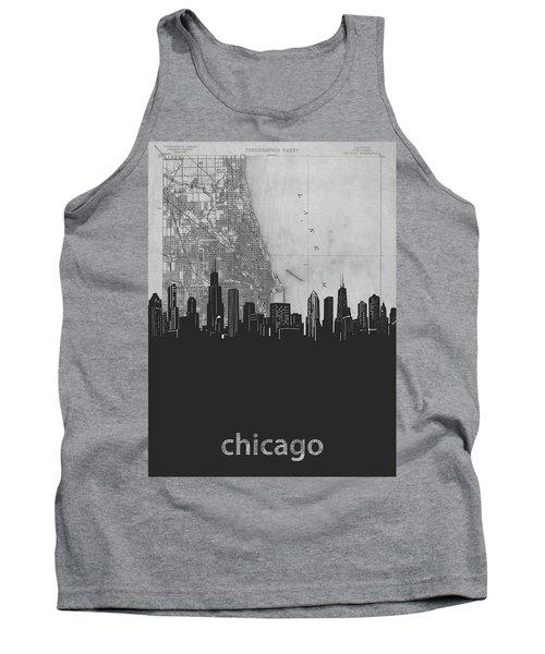 Chicago Skyline Map Grey Tank Top