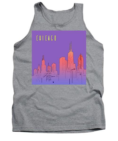 Chicago Skyline Panorama Purple Tank Top