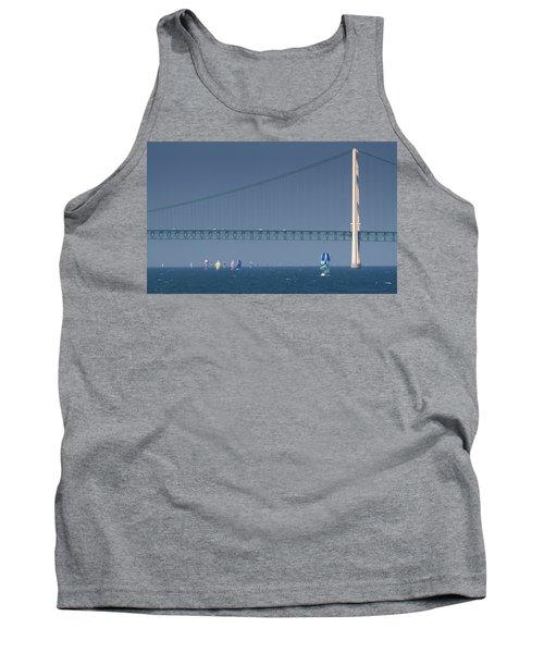 Chicago To Mackinac Yacht Race Sailboats With Mackinac Bridge Tank Top