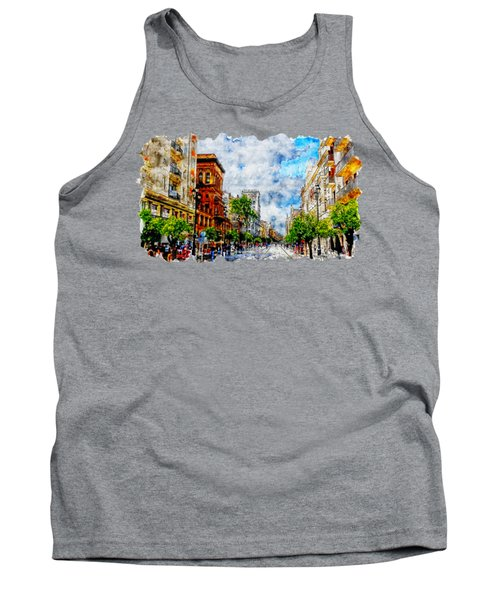 Cityscape Watercolor Drawing - Spain Road Tank Top