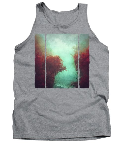 Copper Trees And River  In Mist Tank Top