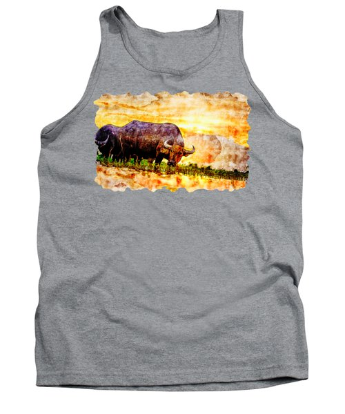 Countryside Watercolor Drawing - Rice Field Buffalo Tank Top