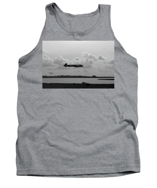 Tank Top featuring the photograph Dambusters Lancasters At Abberton Bw Version by Gary Eason
