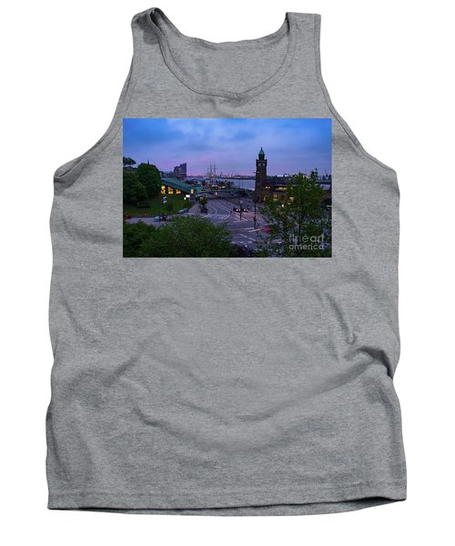 Dawn Over The Port And City Hamburg Panorama Tank Top