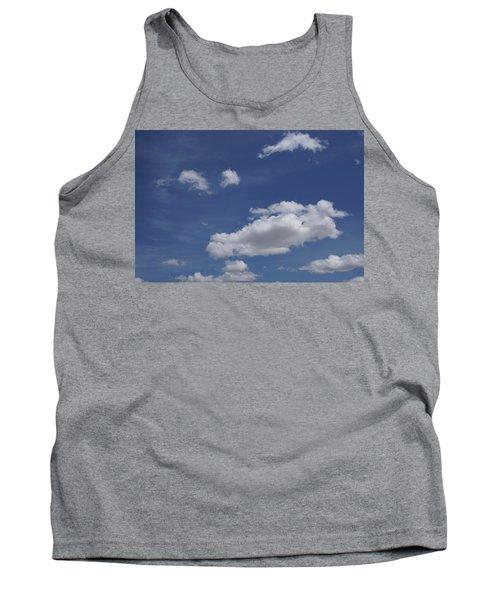 Deep Blue Sky And Fluffy Cumulous Cloud Tank Top