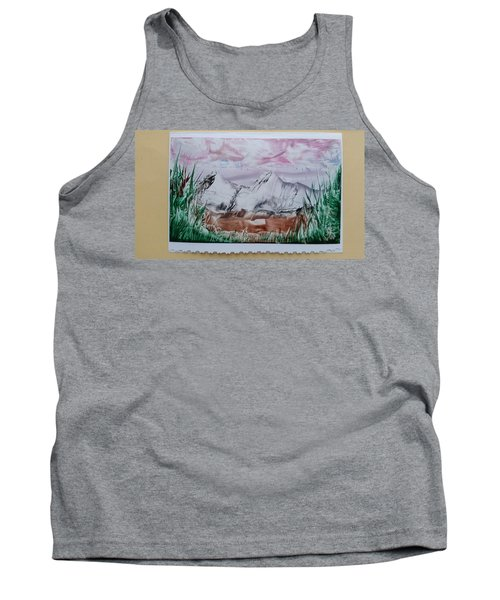 Distant Impressionistic Mountains Tank Top