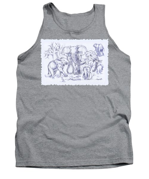 Elephant And Cattle Egrets Sketches Tank Top