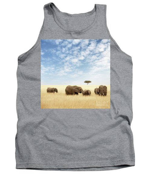 Elephant Group In The Grassland Of The Masai Mara Tank Top
