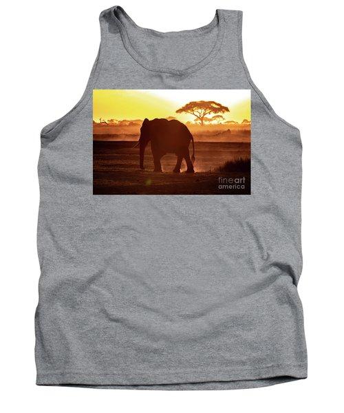 Elephant Walking Through Amboseli At Sunset Tank Top