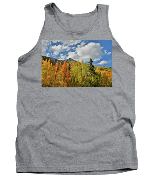 Fall Colored Aspens Bask In Sun At Red Mountain Pass Tank Top