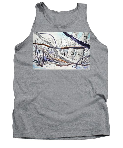 Tank Top featuring the painting Fallen Birch Trees After The Snowstorm In Watercolor by Christopher Shellhammer