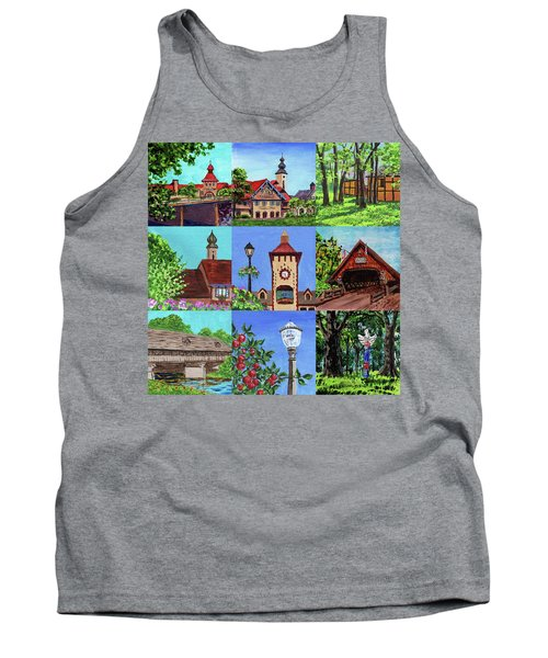 Frankenmuth Downtown Michigan Painting Collage Iv Tank Top