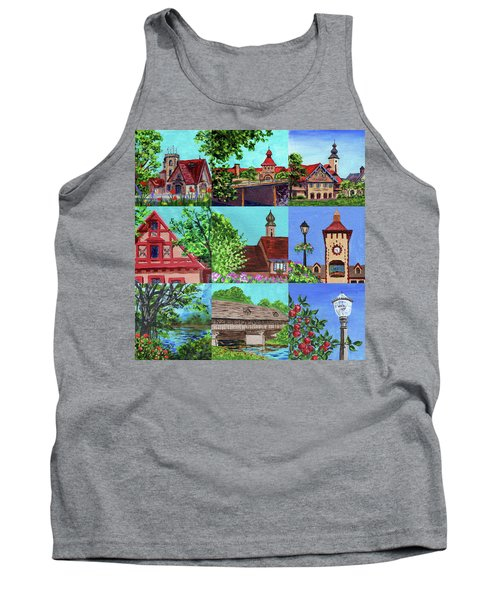 Frankenmuth Downtown Michigan Painting Collage V Tank Top