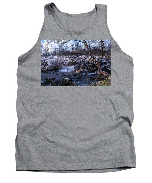 Frozen Tree In Winter River Tank Top