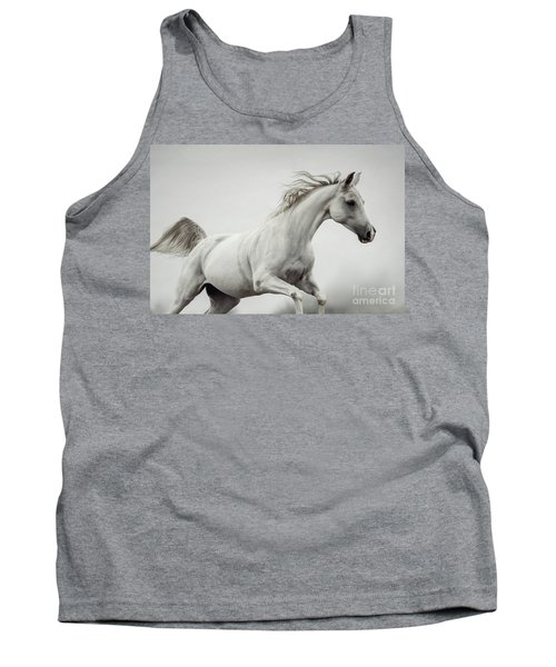Tank Top featuring the photograph Galloping White Horse by Dimitar Hristov