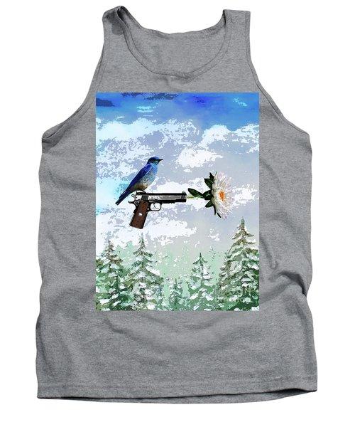 Bluebird Of Happiness- Flower In A Gun Tank Top