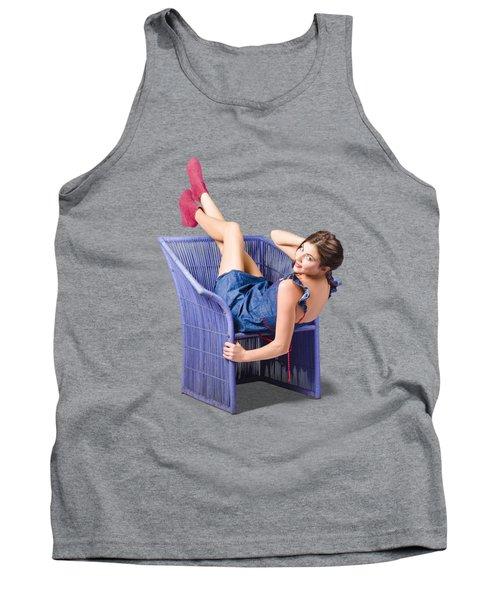 Happy Woman In Denim Dress Kicking Back On Chair Tank Top