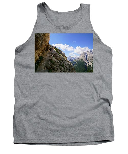Hikers On Steep Trail Up Monte Piana Tank Top