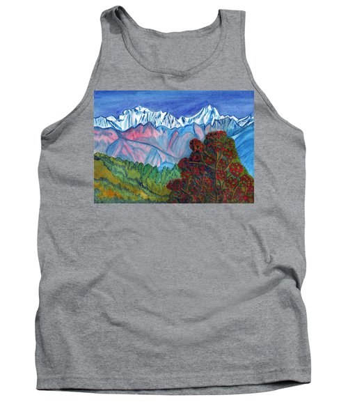 Blooming Tree On A Background Of Snowy Mountains Tank Top