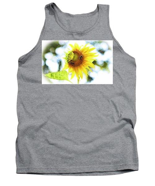 Honey Bees On Sunflower Tank Top