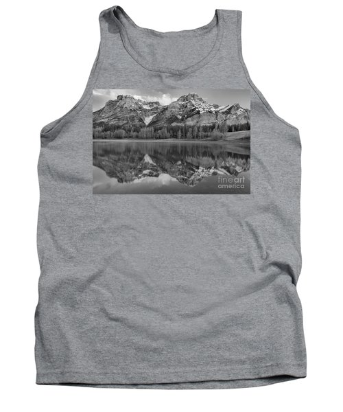 Kananaskis Mountain Reflections Black And White Tank Top