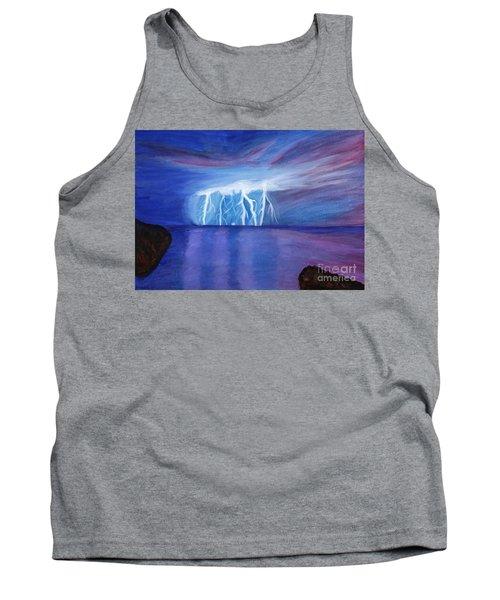 Lightning On The Sea At Night Tank Top