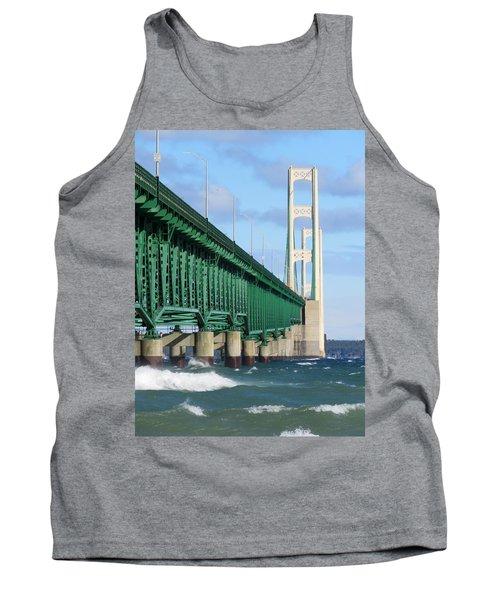 Mackinac Bridge And Waves Tank Top