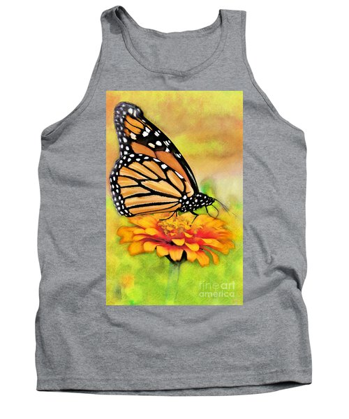 Monarch Butterfly On Flower Tank Top