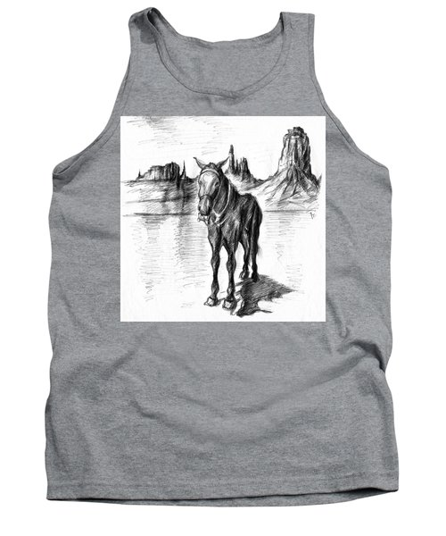 Monument Valley Mule - Pencil Drawing Tank Top