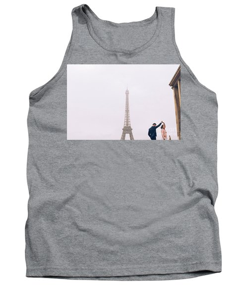 Newly-wed Couple On Their Honeymoon In Paris, Loving Having A Date Near The Eiffel Tower Tank Top
