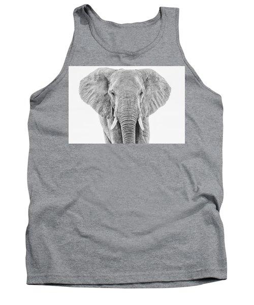 Portrait Of An African Elephant Bull In Monochrome Tank Top