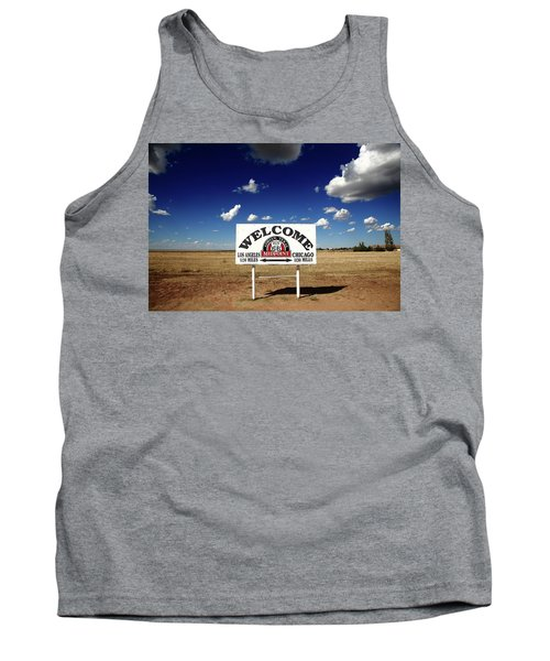 Route 66 - Midpoint Sign 2010 Bw Tank Top