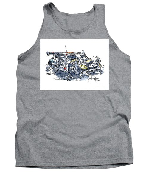 Schnitzer Bmw M6 Gt3 Racecar Ink Drawing And Watercolor Tank Top
