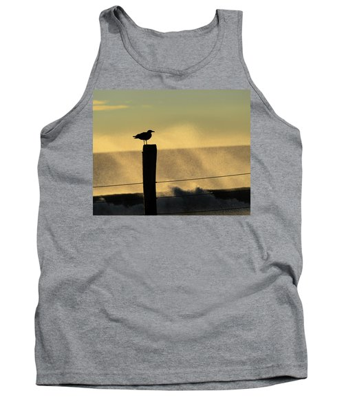 Seagull Silhouette On A Piling Tank Top