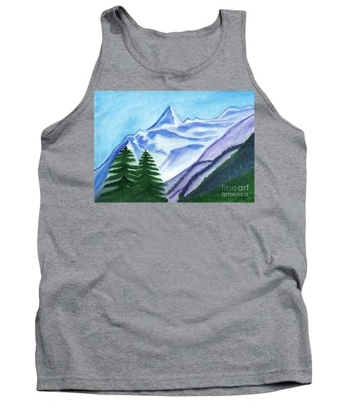 Two Mountain Spruce Against The Backdrop Of Snow-capped Peak Tank Top