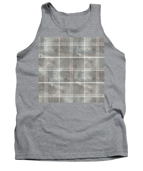 Soft Textured Cream And Blue Plaid Tank Top