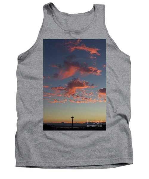 Space Needle And Pink Clouds Tank Top