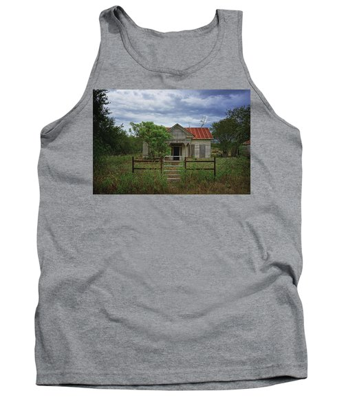 Texas Farmhouse In Storm Clouds Tank Top