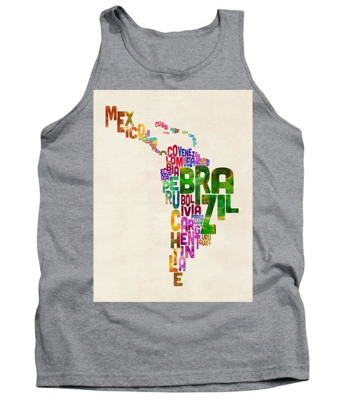 Typography Map Of Latin America, Mexico, Central And South America Tank Top