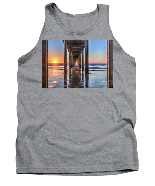 Under Scripps Pier At Sunset  ..autographed.. Tank Top