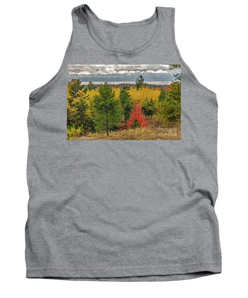 Vibrant Shades Of Red, Green, And Yellow Leaves Tank Top