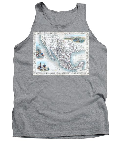 Vingage Map Of Texas, California And Mexico Tank Top