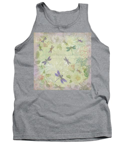 Vintage Botanical Illustrations And Dragonflies Tank Top