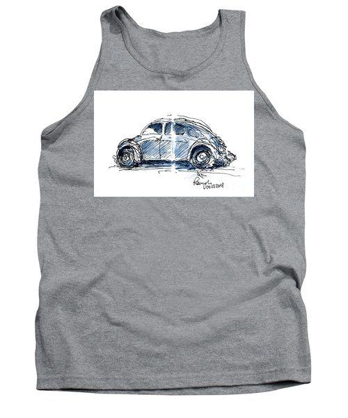 Vw Beetle Classic Car Ink Drawing And Watercolor Tank Top